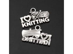Kovový prívesok I love knitting