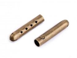Kovová koncovka na šnúrky - staromosadz - 4,5x22 mm