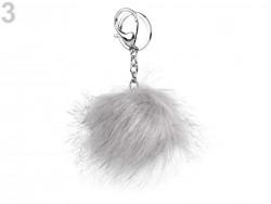 Kožušinový brmbolec na kabelku - holubia šedá