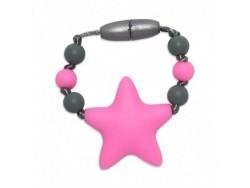 Silikónový krúžok na šatku / náramok pre dievčatko - ružová hviezda