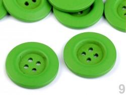 Dekoračný drevený gombík štvordierkový - zelený