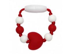 Silikónový krúžok na šatku / náramok pre dievčatko  - červené srdce