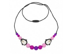 Silikónový náhrdelník s tučniakmi vo fialových odtieňoch