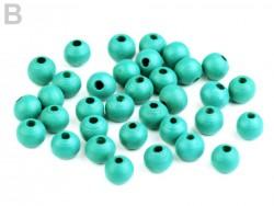 Drevené korálky 8 mm - zeleno modré