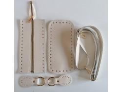 Súprava na kabelku so zipsom - krémová