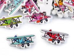 Drevený dekoračný gombík v tvare lietadla