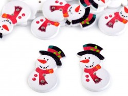 Drevený dekoračný gombik v tvare snehuliaka