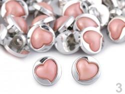 Perleťový gombík so staroružovým srdiečkom