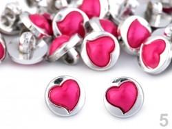 Perleťový gombík so sýtoružovým srdiečkom