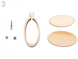 Mini drevený rámček / prívesok na vyšívanie - ovál (3,2 x 6,7 cm)
