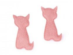 Textilná aplikácia - ružová mačka