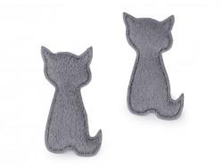 Textilná aplikácia - šedá mačka