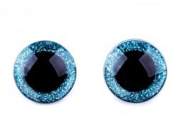 Bezpečnostné očká glitrové - modré (25 mm)
