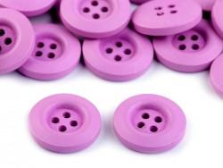Drevený dekoračný gombík štvordierkový  - fialový