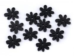 Drevený gombik kvet - čierny