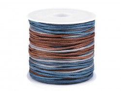 Bavlnená šnúra - modro hnedá - 1 mm
