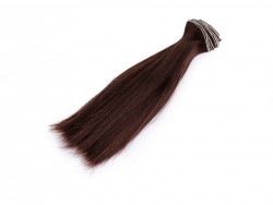 Vlasy pre bábiky - tmavo hnedé - 15 cm