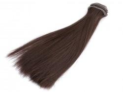 Vlasy pre bábiky - tmavo hnedé - 20 cm